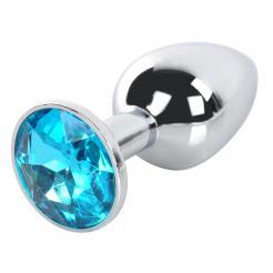 Light Blue Gem Anal Plug Stainless Steel